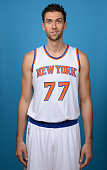 Andrea Bargnani of the New York Knick poses during NBA Media Day at the MSG Training Facility on September 29 2014 in Tarrytown New York NOTE TO USER...