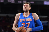 Andrea Bargnani of the New York Knicks composes himself prior to shooting a foul shot against the Philadelphia 76ers at Wells Fargo Center on March...