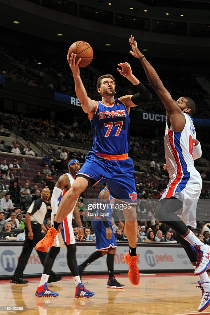 Andrea Bargnani #77 of the New York Knicks drives to the basket during the game against the Detroit Pistons on November 19, 2013 at The Palace of Auburn Hills in Auburn Hills, Michigan.