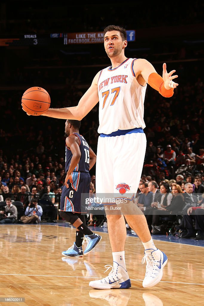 <a gi-track='captionPersonalityLinkClicked' href=/galleries/search?phrase=Andrea+Bargnani&family=editorial&specificpeople=533014 ng-click='$event.stopPropagation()'>Andrea Bargnani</a> #77 of the New York Knicks during a preseason game against the Charlotte Bobcats on October 25, 2013 at Madison Square Garden in New York City.