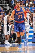 Andrea Bargnani of the New York Knicks during the game against the Orlando Magic on February 11 2015 at Amway Center in Orlando Florida NOTE TO USER...