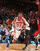 Andrea Bargnani of the New York Knicks handles the ball against the Toronto Raptors on February 28 2015 at Madison Square Garden in New York City New...