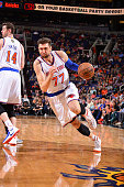 Andrea Bargnani of the New York Knicks handles the ball against the Phoenix Suns on March 15 2015 at US Airways Center in Phoenix Arizona NOTE TO...