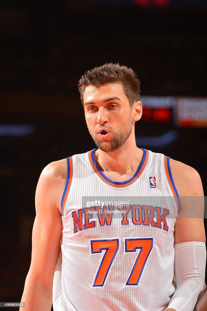 <a gi-track='captionPersonalityLinkClicked' href=/galleries/search?phrase=Andrea+Bargnani&family=editorial&specificpeople=533014 ng-click='$event.stopPropagation()'>Andrea Bargnani</a> #77 of the New York Knicks looks on against the Charlotte Bobcats during the game on November 5, 2013 at Madison Square Garden in New York City, New York.