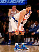 Andrea Bargnani of the New York Knicks reacts after he is called for his sixth foul of the game against the Indiana Pacers at Madison Square Garden...