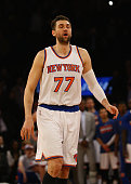 Andrea Bargnani of the New York Knicks reacts after missing the final shot in overtime and losing to the Minnesota Timberwolves 9592 during their...