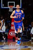 Andrea Bargnani of the New York Knicks runs up the court against the Philadelphia 76ers at Wells Fargo Center on March 20 2015 in Philadelphia...