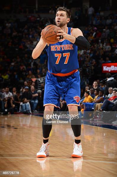 Andrea Bargnani of the New York Knicks shoots the ball against the Denver Nuggets on March 9 2015 at the Pepsi Center in Denver Colorado NOTE TO USER...