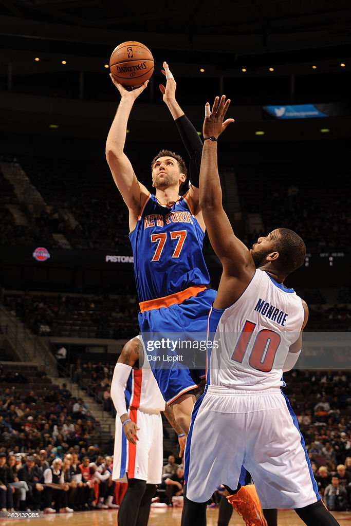 <a gi-track='captionPersonalityLinkClicked' href=/galleries/search?phrase=Andrea+Bargnani&family=editorial&specificpeople=533014 ng-click='$event.stopPropagation()'>Andrea Bargnani</a> #77 of the New York Knicks shoots the ball during the game against the Detroit Pistons on November 19, 2013 at The Palace of Auburn Hills in Auburn Hills, Michigan.