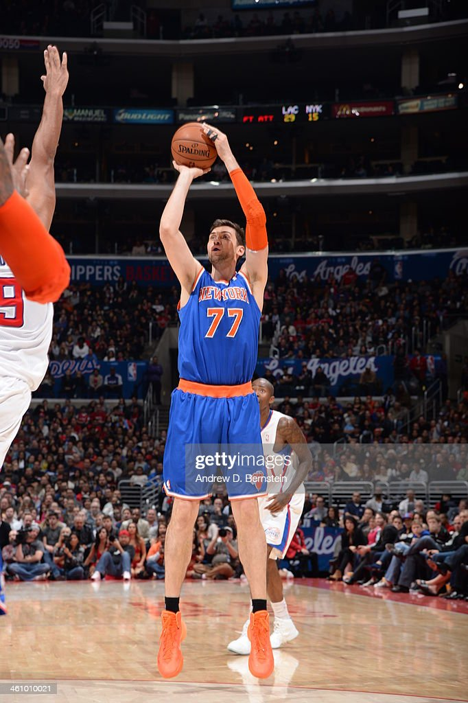 <a gi-track='captionPersonalityLinkClicked' href=/galleries/search?phrase=Andrea+Bargnani&family=editorial&specificpeople=533014 ng-click='$event.stopPropagation()'>Andrea Bargnani</a> #77 of the New York Knicks taking a shot in a game against the Los Angeles Clippers at Staples Center on November 27, 2013 in Los Angeles, California.