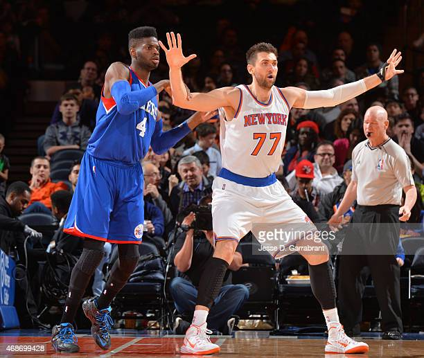 Andrea Bargnani of the New York Knicks waits for the ball downlow against the Philadelphia 76ers at Madison Square Garden on April 5 2015 in New York...