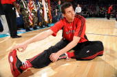 Andrea Bargnani of the Sophomore team stretches prior to the start of the TMobile Rookie Challenge Youth Jam part of 2008 NBA AllStar Weekend at the...