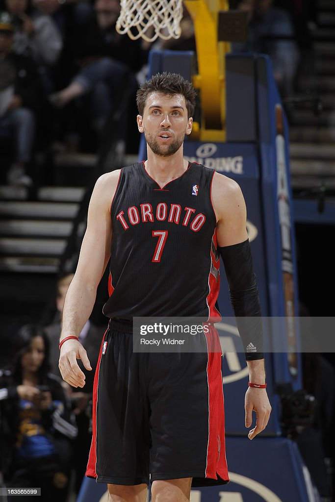 Andrea Bargnani #7 of the Toronto Raptors against the Golden State Warriors on March 4, 2013 at Oracle Arena in Oakland, California.