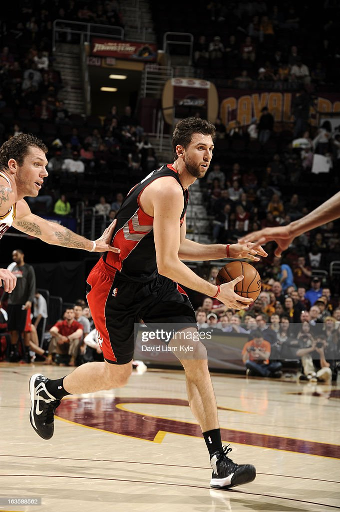 <a gi-track='captionPersonalityLinkClicked' href=/galleries/search?phrase=Andrea+Bargnani&family=editorial&specificpeople=533014 ng-click='$event.stopPropagation()'>Andrea Bargnani</a> #7 of the Toronto Raptors drives against the Cleveland Cavaliers at The Quicken Loans Arena on February 27, 2013 in Cleveland, Ohio.