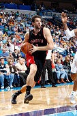 Andrea Bargnani of the Toronto Raptors drives against the New Orleans Hornets on November 6 2009 at the New Orleans Arena in New Orleans Louisiana...