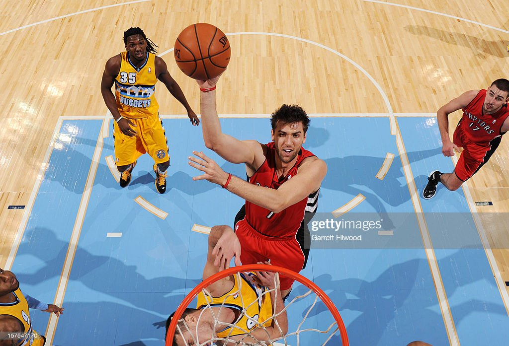 Andrea Bargnani #7 of the Toronto Raptors drives to the basket against the Denver Nuggets on December 3, 2012 at the Pepsi Center in Denver, Colorado.