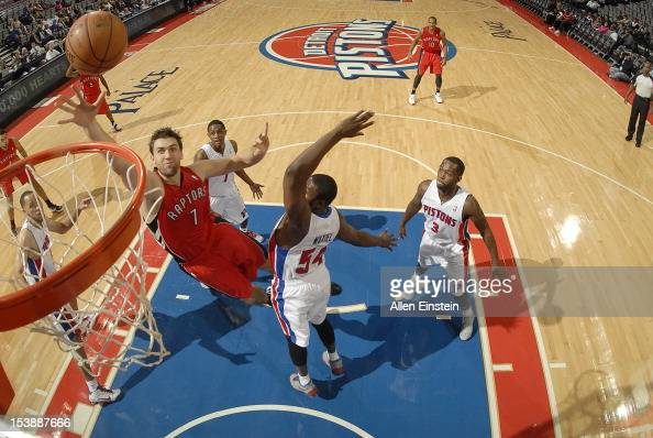 Andrea Bargnani of the Toronto Raptors goes to the basket uring the game between the Detroit Pistons and the Toronto Raptors on October 10 2012 at...