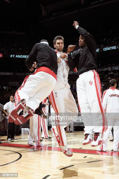Andrea Bargnani of the Toronto Raptors is introduced before the game against the Portland Trail Blazers on February 24 2010 at Air Canada Centre in...