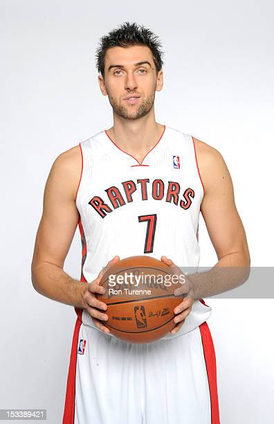 Andrea Bargnani of the Toronto Raptors poses for a portrait during a Media Day on October 1 2012 in Toronto Canada NOTE TO USER User expressly...