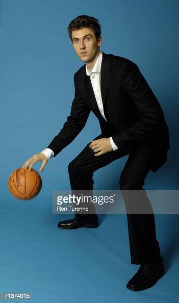 Andrea Bargnani of the Toronto Raptors poses for a portrait during a press conference at Air Canada Centre on June 29 2006 in Toronto Ontario Canada...