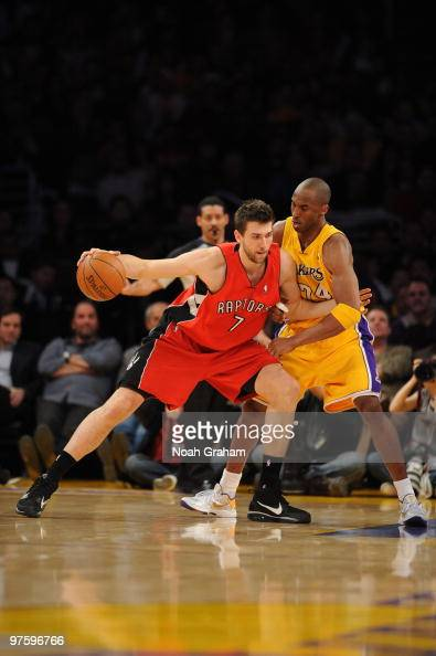 Andrea Bargnani of the Toronto Raptors posts up against Kobe Bryant of the Los Angeles Lakers at Staples Center on March 9 2010 in Los Angeles...