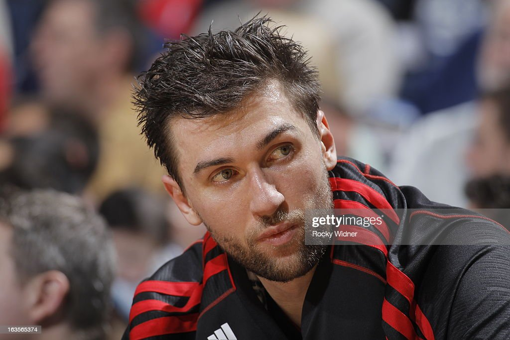 Andrea Bargnani #7 of the Toronto Raptors rests during a game against the Golden State Warriors on March 4, 2013 at Oracle Arena in Oakland, California.