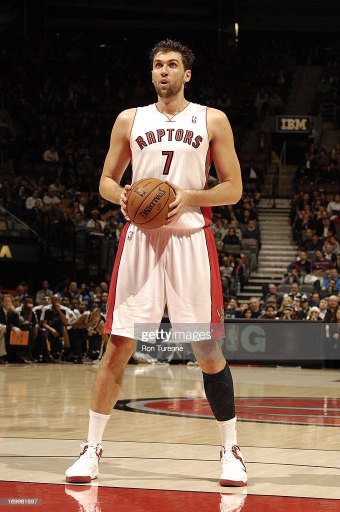 <a gi-track='captionPersonalityLinkClicked' href=/galleries/search?phrase=Andrea+Bargnani&family=editorial&specificpeople=533014 ng-click='$event.stopPropagation()'>Andrea Bargnani</a> #7 of the Toronto Raptors shoots a foul shot against the Utah Jazz during the game on November 12, 2012 at the Air Canada Centre in Toronto, Ontario, Canada.