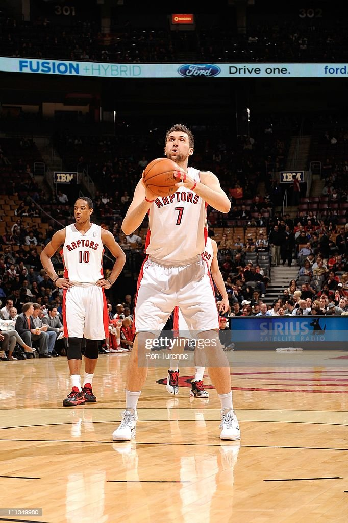 Andrea Bargnani #7 of the Toronto Raptors shoots a free throw against the Milwaukee Bucks on March 30, 2011 at the Air Canada Centre in Toronto, Ontario, Canada.