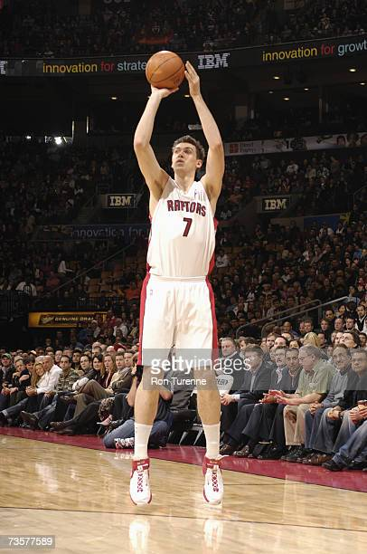 Andrea Bargnani of the Toronto Raptors shoots a jump shot during a game against the Milwaukee Bucks at Air Canada Centre on March 2 2007 in Toronto...