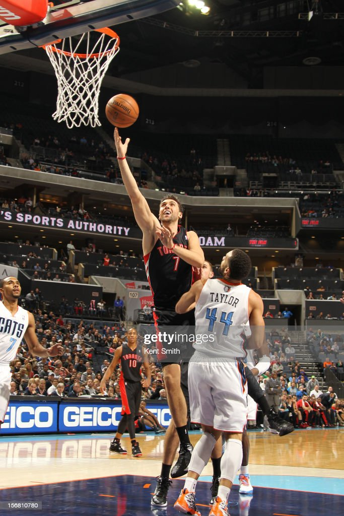 <a gi-track='captionPersonalityLinkClicked' href=/galleries/search?phrase=Andrea+Bargnani&family=editorial&specificpeople=533014 ng-click='$event.stopPropagation()'>Andrea Bargnani</a> #7 of the Toronto Raptors shoots against Jeffrey Taylor #44 of the Charlotte Bobcats at the Time Warner Cable Arena on November 21, 2012 in Charlotte, North Carolina.