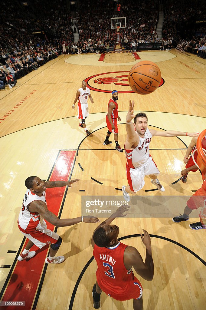 <a gi-track='captionPersonalityLinkClicked' href=/galleries/search?phrase=Andrea+Bargnani&family=editorial&specificpeople=533014 ng-click='$event.stopPropagation()'>Andrea Bargnani</a> #7 of the Toronto Raptors shoots against the Los Angeles Clippers on February 13, 2011 at the Air Canada Centre in Toronto, Ontario, Canada.
