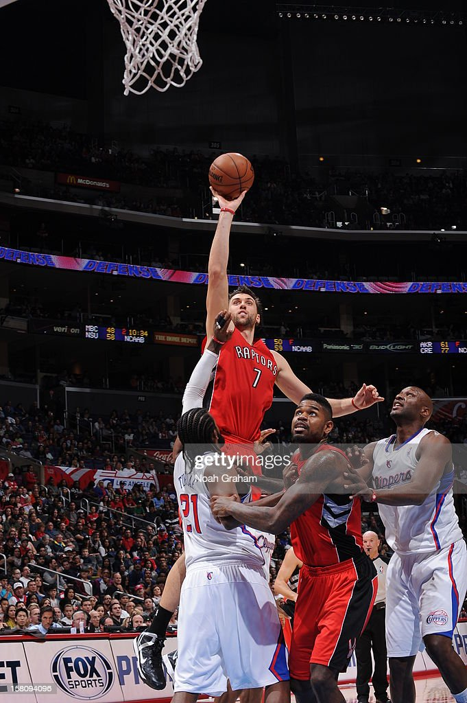 <a gi-track='captionPersonalityLinkClicked' href=/galleries/search?phrase=Andrea+Bargnani&family=editorial&specificpeople=533014 ng-click='$event.stopPropagation()'>Andrea Bargnani</a> #7 of the Toronto Raptors shoots against the Los Angeles Clippers on December 9, 2012 at the Staples Center in Los Angeles, California.