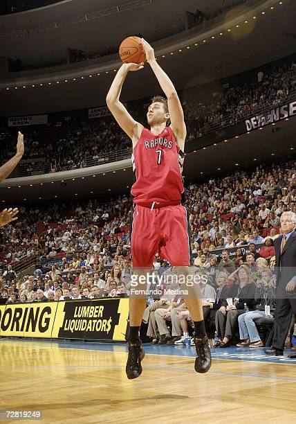 Andrea Bargnani of the Toronto Raptors shoots against the Orlando Magic December 13 2006 at Amway Arena in Orlando Florida NOTE TO USER User...