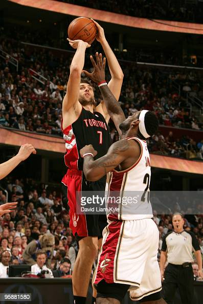 Andrea Bargnani of the Toronto Raptors shoots over LeBron James of the Cleveland Cavaliers on January 19 2010 at The Quicken Loans Arena in Cleveland...