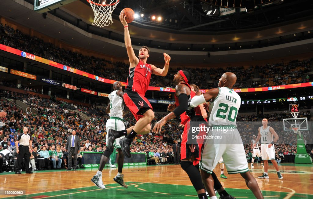 Andrea Bargnani #7 of the Toronto Raptors shoots the ball against the Boston Celtics during the preseason game on December 21, 2011 at the TD Garden in Boston, Massachusetts.