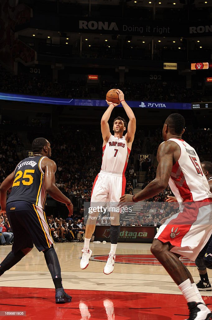 <a gi-track='captionPersonalityLinkClicked' href=/galleries/search?phrase=Andrea+Bargnani&family=editorial&specificpeople=533014 ng-click='$event.stopPropagation()'>Andrea Bargnani</a> #7 of the Toronto Raptors shoots the ball against the Utah Jazz during the game on November 12, 2012 at the Air Canada Centre in Toronto, Ontario, Canada.