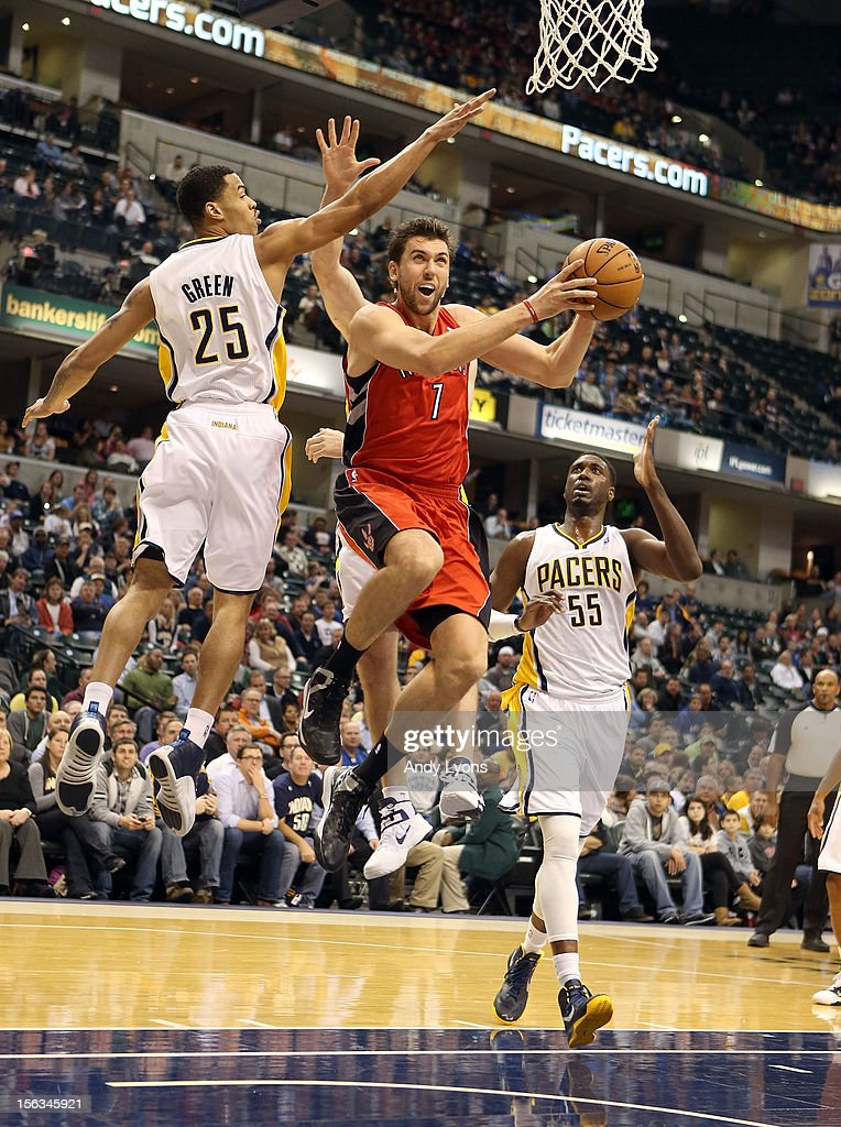 Andrea Bargnani #7 of the Toronto Raptors shoots the ball during the NBA game against the Indiana Pacersat Bankers Life Fieldhouse on November 13, 2012 in Indianapolis, Indiana.