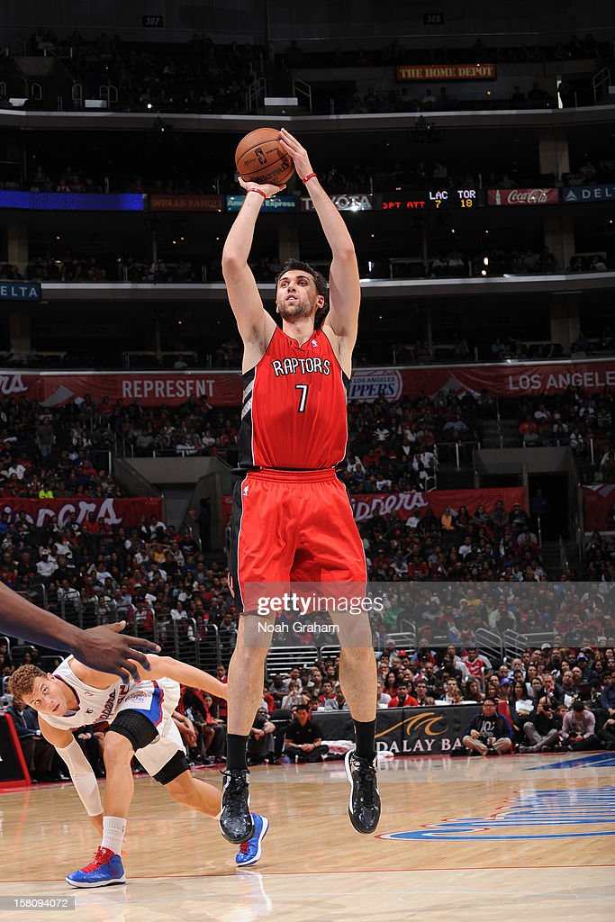 Andrea Bargnani #7 of the Toronto Raptors takes a jump shot against the Los Angeles Clippers on December 9, 2012 at the Staples Center in Los Angeles, California.