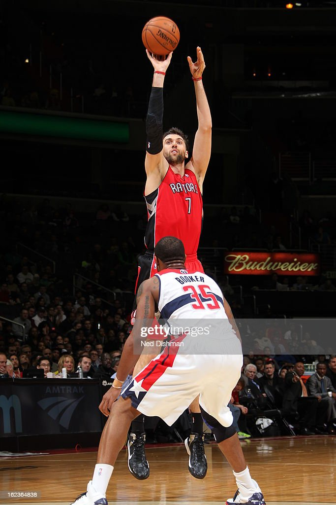 <a gi-track='captionPersonalityLinkClicked' href=/galleries/search?phrase=Andrea+Bargnani&family=editorial&specificpeople=533014 ng-click='$event.stopPropagation()'>Andrea Bargnani</a> #7 of the Toronto Raptors takes a shot against the Washington Wizards at the Verizon Center on February 19, 2013 in Washington, DC.