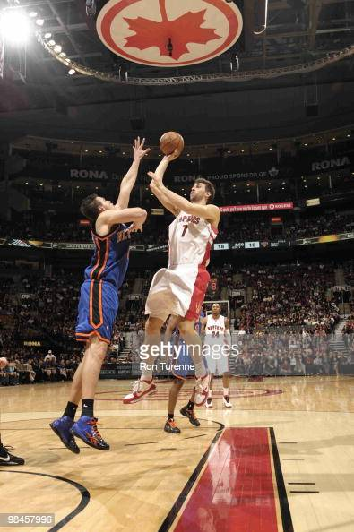 Andrea Bargnani of the Toronto Raptors tries the running jumper over Danilo Gallinari of the New York Knicks during a game on April 14 2010 at the...