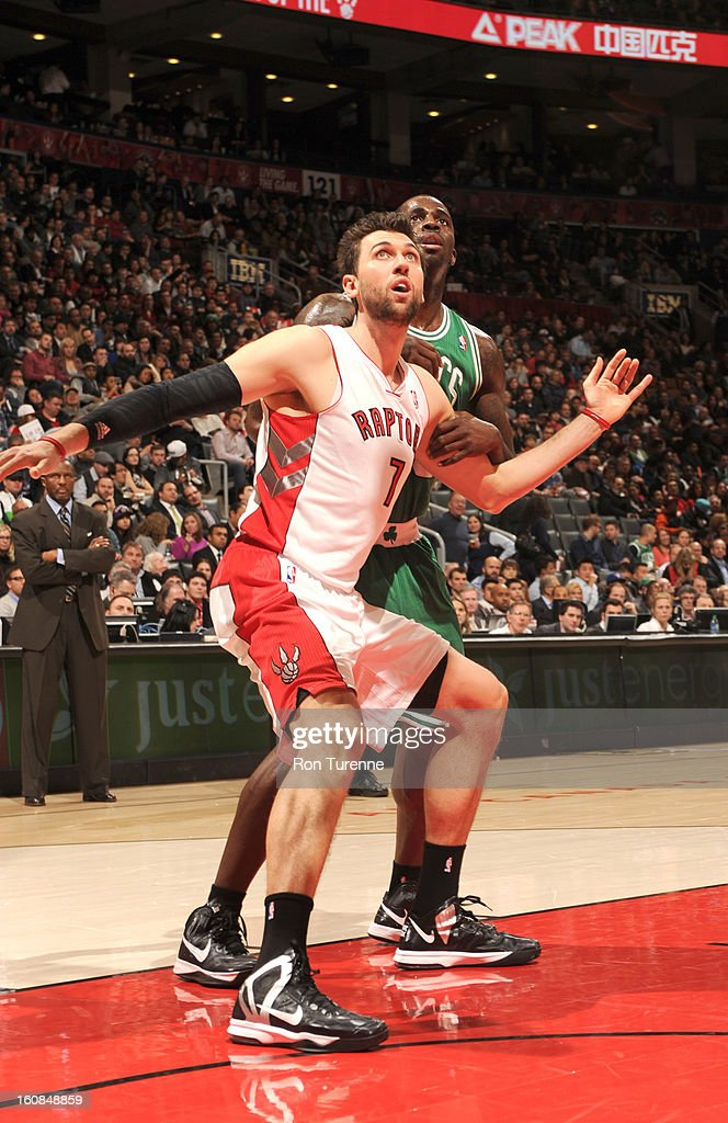 Andrea Bargnani #7 of the Toronto Raptors waits for a rebound during the game between the the Toronto Raptors and the Boston Celtics on February 6, 2013 at the Air Canada Centre in Toronto, Ontario, Canada.