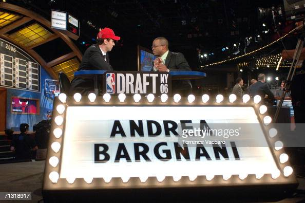 Andrea Bargnani selected number one overall by the Toronto Raptors speaks to Stuart Scott of ESPN during the 2006 NBA Draft on June 28 2006 at The...