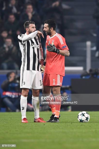 Andrea Barzagli and Gianluigi Buffon during the UEFA Champions League group D match between Juventus and FC Barcelona at Allianz Stadium on November...