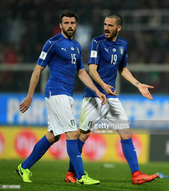 Andrea Barzagli and Leonardo Bonucci of Italy chat during the FIFA 2018 World Cup Qualifier between Italy and Albania at Stadio Renzo Barbera on...
