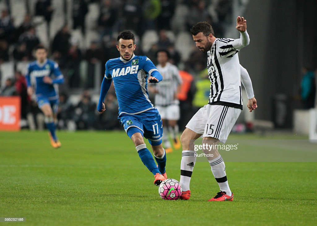 Andrea Barzagli and Nicola Sansone during the serie A match between Juventus FC and US Sassuolo Calcio at the Juventus Stadium of Turin on march 11...