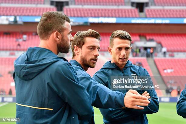 Andrea barzagli Claudio Marchisio and Federico Bernardeschi during the Tottenham Hotspur v Juventus PreSeason Friendly match at Wembley Stadium on...
