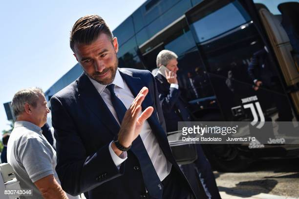 Andrea Barzagli during the travel to Rome ahead of the Italian Supercup at on August 12 2017 in Turin Italy