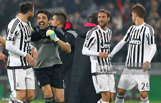 Andrea Barzagli Gianluigi Buffon and Claudio Marchisio of Juventus FC celebrate a victory at the end of the Serie A match between and Juventus FC and...