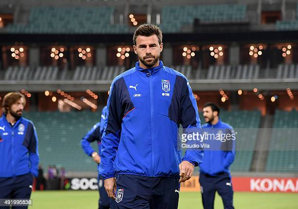 Andrea Barzagli of Italy attends a training session on October 9 2015 in Baku Azerbaijan