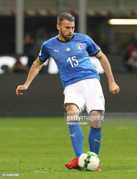 Andrea Barzagli of Italy in action during the FIFA 2018 World Cup Qualifier PlayOff Second Leg between Italy and Sweden at San Siro Stadium on...